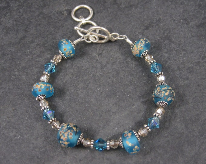Handmade Blue Lampwork Art Glass Bead Bracelet 7-8 Inches