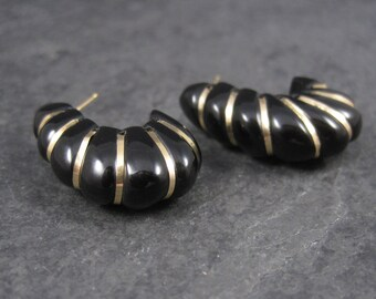 Vintage 14K Carved Black Onyx Earrings
