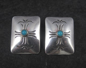 Vintage Southwestern Sterling Stamped Turquoise Earrings