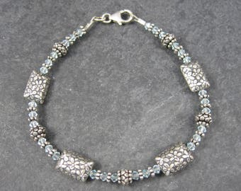 Vintage 90s Aquamarine Floral Bead Bracelet Sterling 7.75 Inches