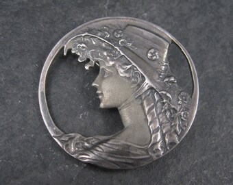 Vintage Sterling Nouveau Style Lady Cameo Brooch Pendant