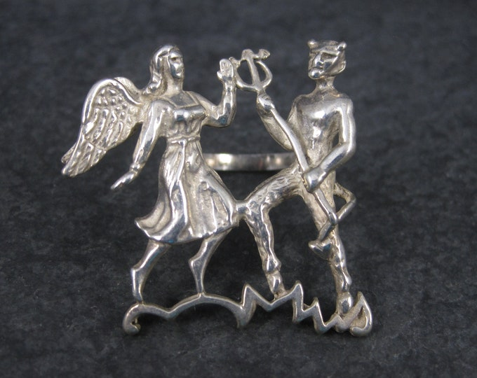 Unusual Vintage Sterling Angel Demon Devil Ring Size 8