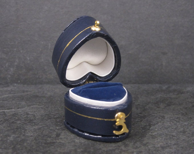 Antique Style Blue Heart Engagement Ring Box