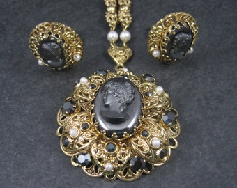 Vintage Brass Filigree Black Cameo Necklace Clip On Earrings Jewelry Set