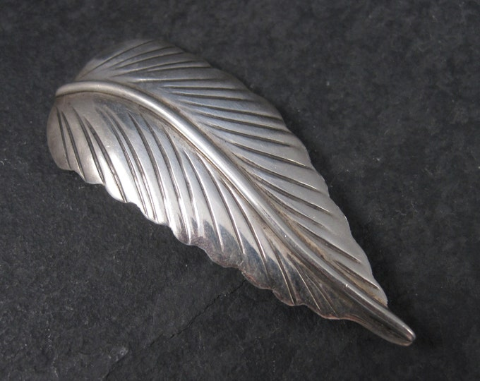 Vintage Southwestern Sterling Feather Brooch Pin