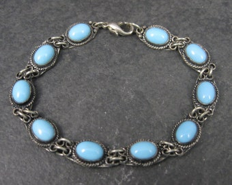 Vintage Sterling Blue Glass Bracelet 7 Inches