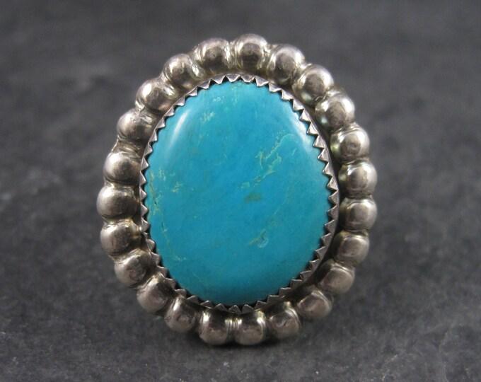 Large Vintage Sterling Southwestern Turquoise Ring Size 8.5