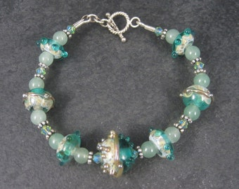Art Glass Green Lampwork Toggle Bracelet 8 Inches