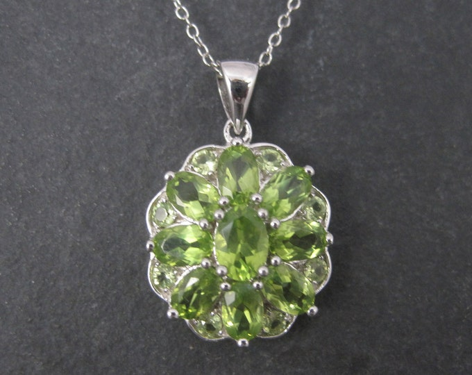 Vintage Sterling Peridot Cluster Pendant Necklace