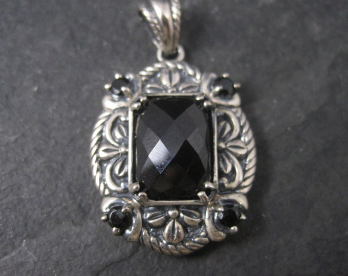 Vintage Ornate Sterling Faceted Onyx Pendant