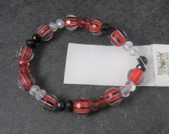 Darice Red Black Clear Glass Bead Strand 6-10mm