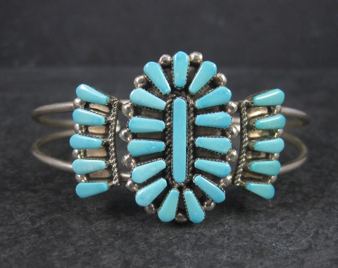 Vintage Zuni Sterling Silver Turquoise Bracelet 6 Inches