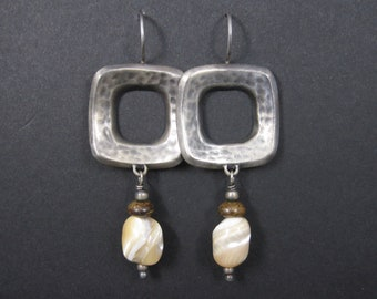 Vintage Square Sterling Mother of Pearl Earrings