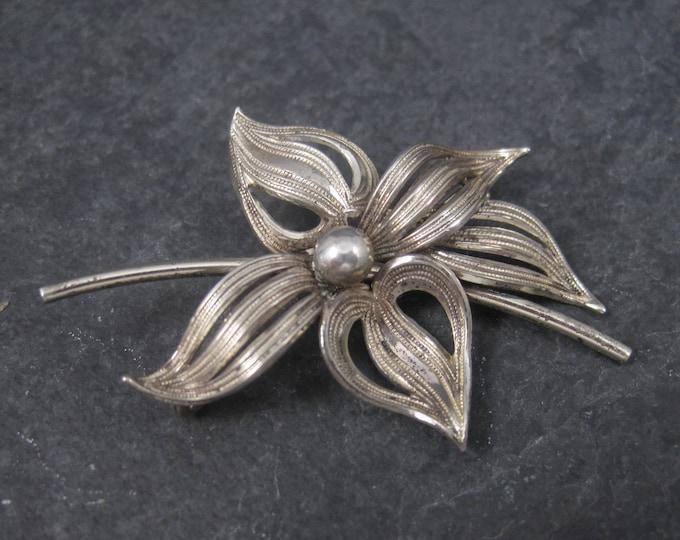 Vintage Sterling Flower Brooch Forstner