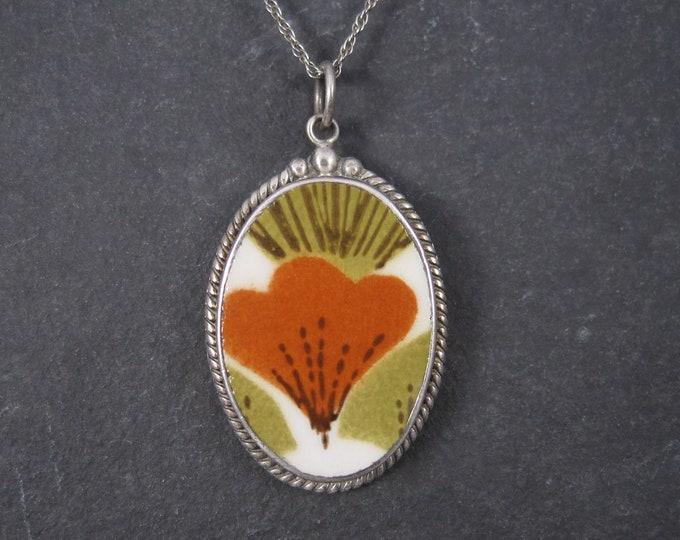 Vintage Sterling 70s Floral Pottery Pendant Necklace