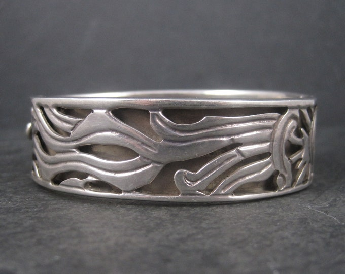 Vintage Mexican Sterling Sun Bangle Bracelet 6.75 Inches
