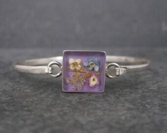 Vintage Sterling Pressed Flower Bangle Bracelet 6 Inches