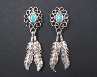 Vintage Southwestern Sterling Turquoise Feather Earrings