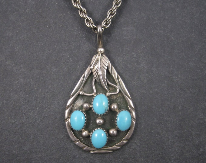 Vintage Navajo Sterling Sleeping Beauty Turquoise Feather Pendant Necklace