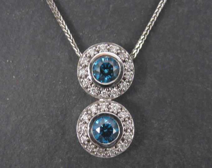 Featured listing image: Vintage 14K Fancy Blue Diamond Pendant Necklace