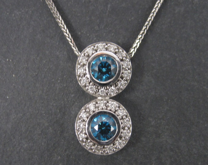 Vintage 14K Fancy Blue Diamond Pendant Necklace