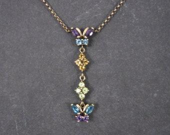 Vintage 10K Topaz Peridot Amethyst Citrine Butterfly Necklace