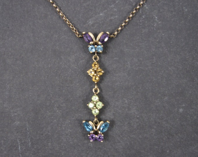 Featured listing image: Vintage 10K Topaz Peridot Amethyst Citrine Butterfly Necklace