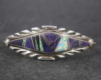 Vintage Navajo Sugilite Inlay Cuff Bracelet 6.25 Inches Thomas Francisco