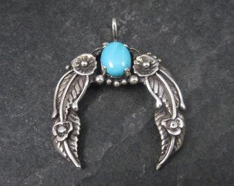 Vintage Southwestern Sterling Turquoise Naja Feather Pendant