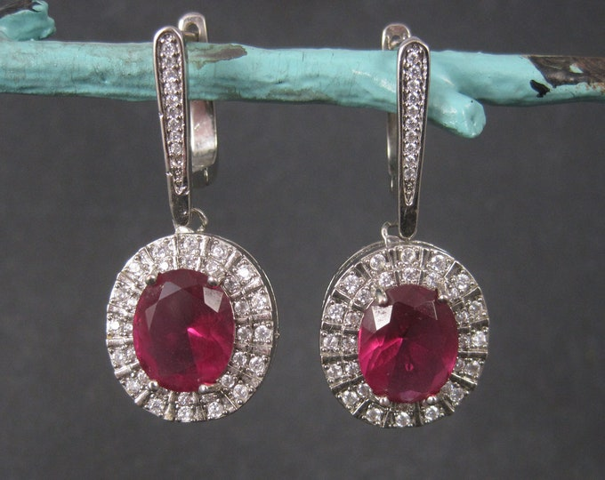 Large Sterling Faux Pink Sapphire Latch Earrings