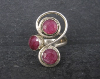 Unique Vintage Sterling Ruby Ring Size 6.5