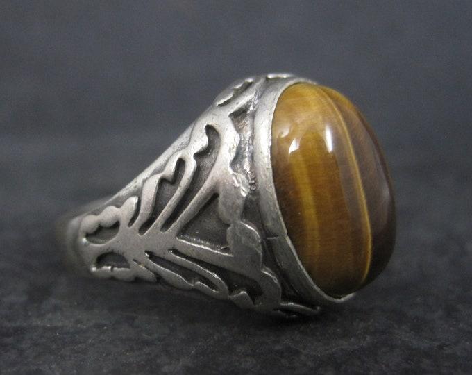 Mens Vintage Art Nouveau 950 Sterling Tigers Eye Ring Size 10