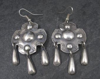 Long Vintage Southwestern Sterling Earrings T Yazzie