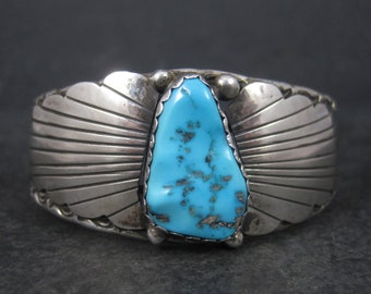 Vintage Navajo Sterling Turquoise Cuff Bracelet 6.25 Inches