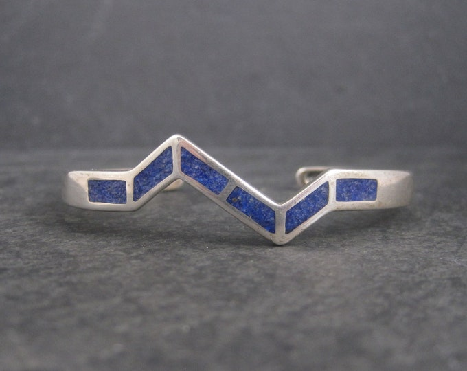 Vintage Sterling Crushed Lapis Inlay Cuff Bracelet 6.25 Inches
