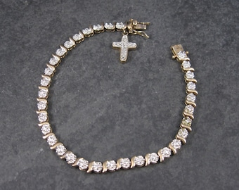 Vintage Diamond Sterling Vermeil Cross Bracelet