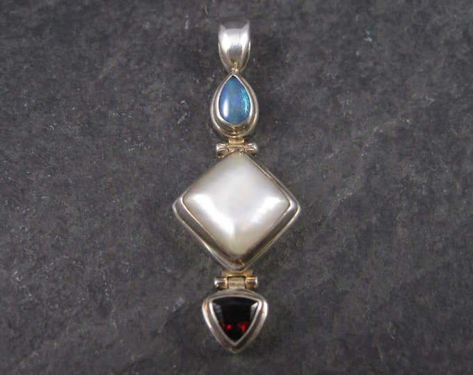 Vintage Sterling Opal Mother of Pearl and Garnet Pendant