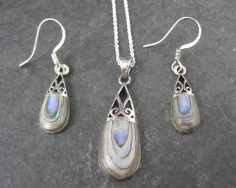 Vintage Abalone Pendant and Earrings Jewelry Set