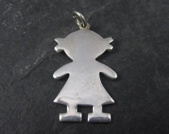 Vintage Sterling Little Girl Child Pendant Mother Grandmother Gift