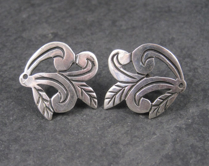 Antique Mexican Sterling Scrolling Leaves Screw Back Earrings