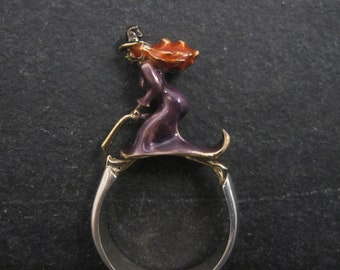 Estate Sterling Enamel Witch Ring Size 7.5