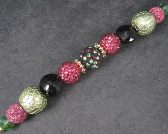 Jesse James Pink Green Black Bead Strand 6010