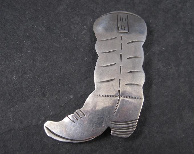 Vintage Southwestern Sterling Cowboy Boot Brooch