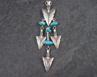 Long Vintage Sterling Turquoise Arrowhead Pendant