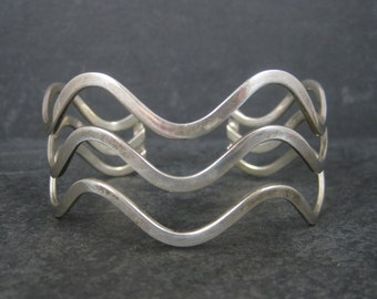 Vintage Sterling Wave Cuff Bracelet 7 Inches