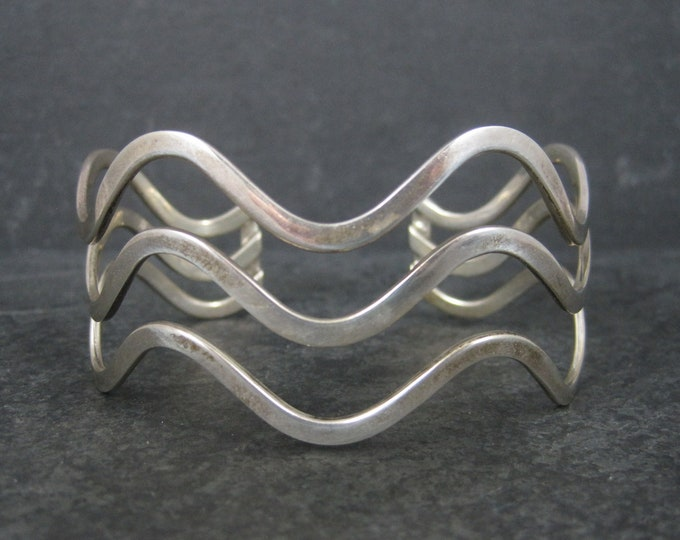Vintage Sterling Wave Cuff Bracelet 7 Inches