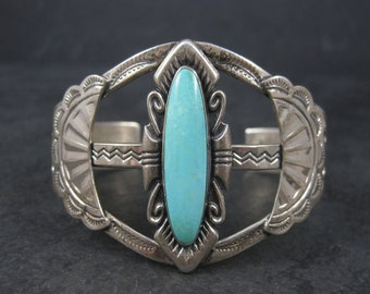 Large Vintage Turquoise Cuff Bracelet Bell Trading Sterling 6.5 Inches