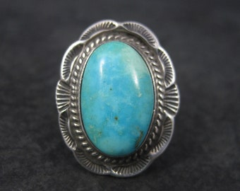 Traditional Vintage Southwestern Sterling Turquoise Ring Size 6.75