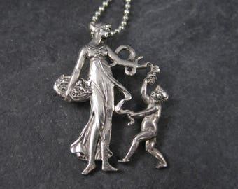 Vintage Sterling Roman Goddess Pomona Pendant