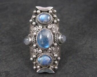 Huge Vintage 90s Sterling Rainbow Moonstone Ring